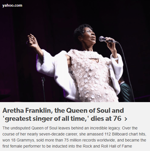 Aretha Frankling dies